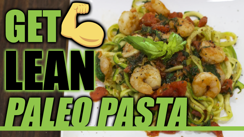Low Carb Paleo Zucchini Pasta: Shrimp Spinach Linguine
