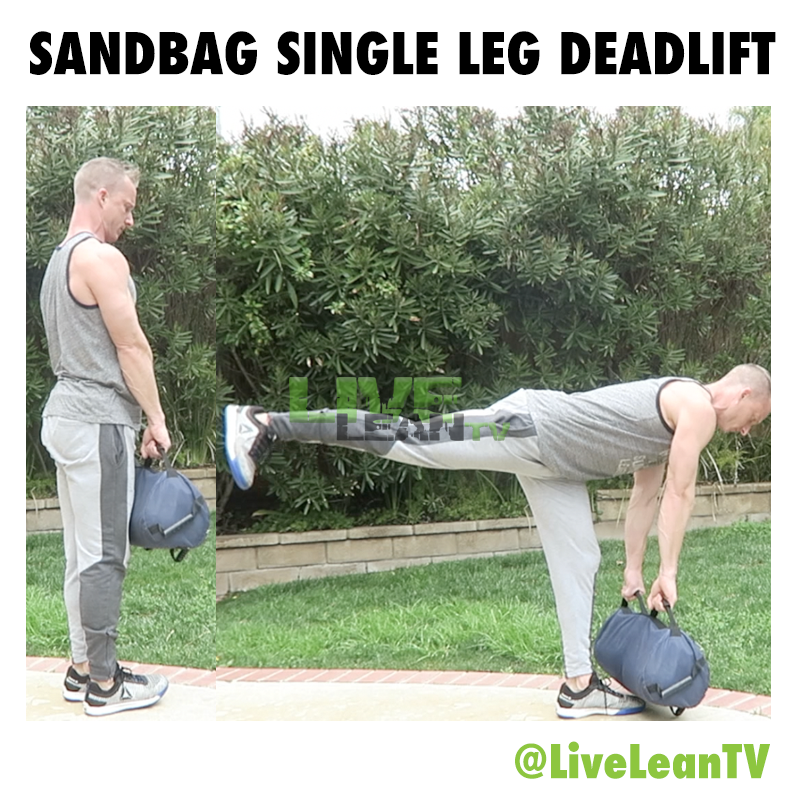 sandbag single leg deadlift