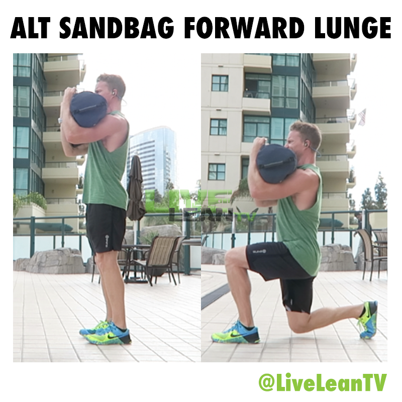 alternating sandbag forward lunge