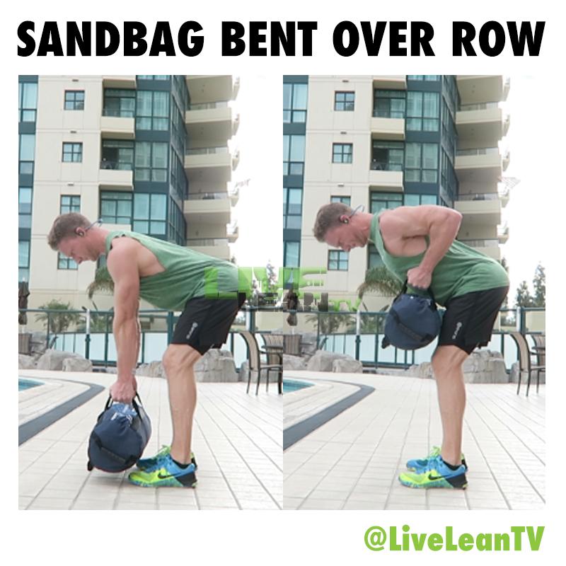 sandbag bent over row