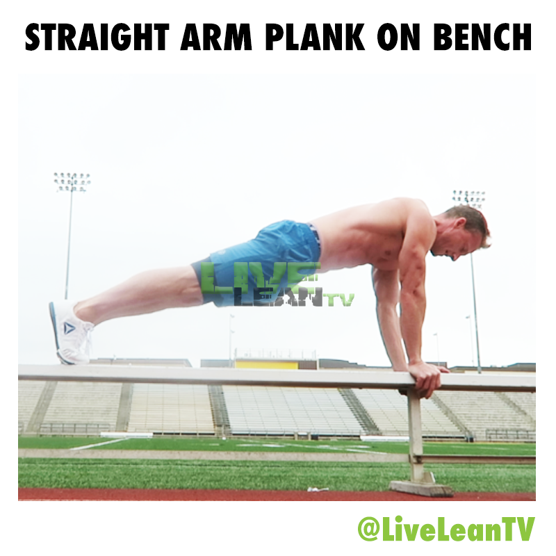 straight arm plank on bench