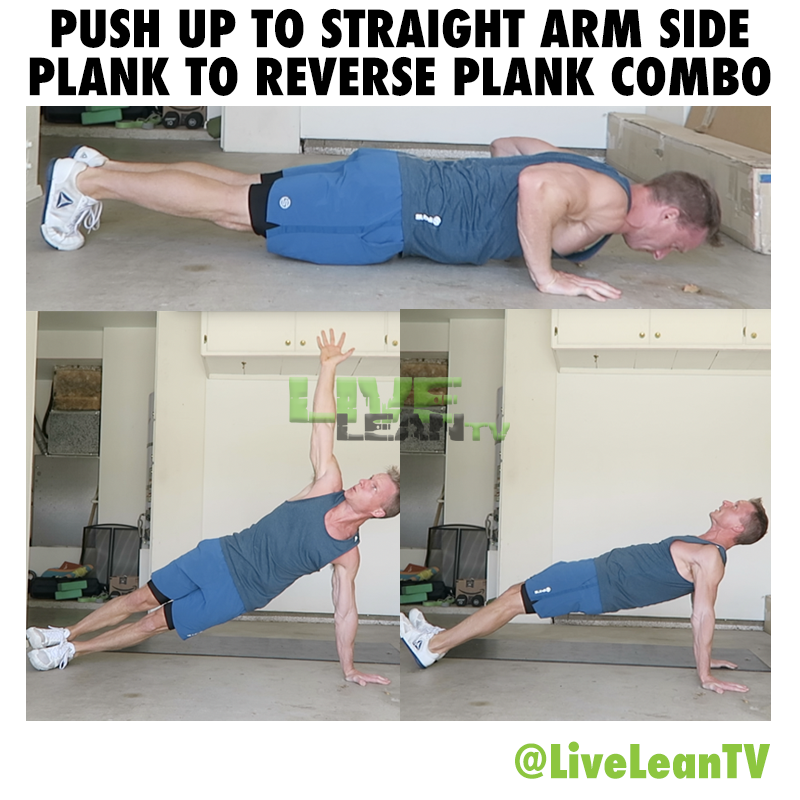 Push Up To Straight Arm Side Plank To Reverse Plank Combo