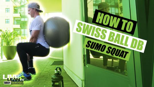 How To Do A SWISS BALL DUMBBELL SUMO SQUAT | Exercise Demonstration Video and Guide