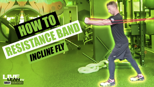 How To Do A STANDING RESISTANCE BAND INCLINE FLY   Exercise Demonstration Video and Guide