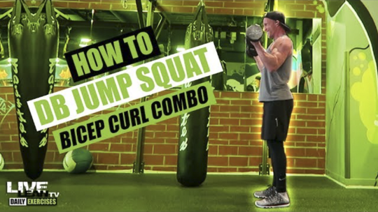 How To Do A DUMBBELL JUMP SQUAT BICEP CURL COMBO | Exercise Demonstration Video and Guide