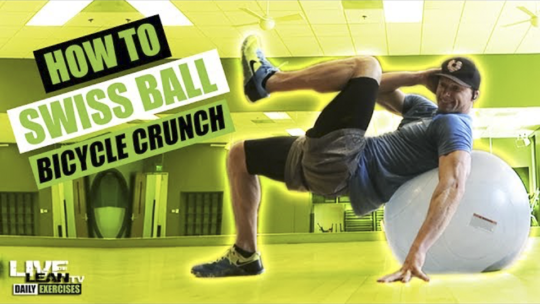 How To Do A SWISS BALL BICYCLE CRUNCH   Exercise Demonstration Video and Guide