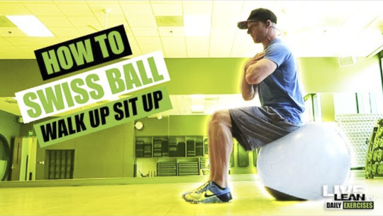 How To Do A SWISS BALL WALK UP SIT UP   Exercise Demonstration Video and Guide