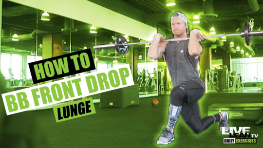 How To Do A BARBELL FRONT DROP LUNGE | Exercise Demonstration Video and Guide