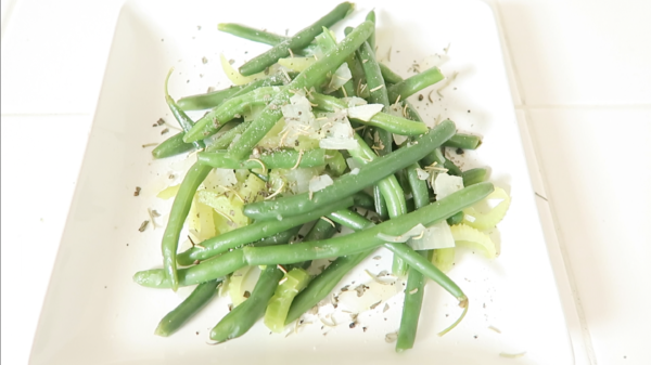 rosemary and basil infused green beans mixture