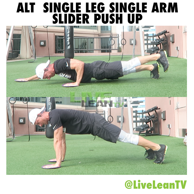 Alternating Single Leg Single Arm Slider Push Up