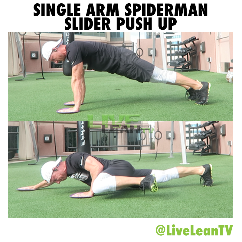 Single Arm Spiderman Slider Push Up