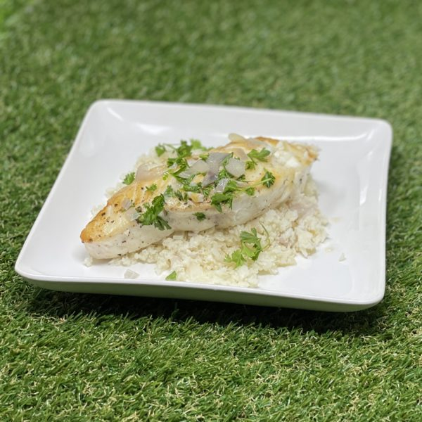 Easy But Fancy Sauteed Halibut Over Cauliflower Rice